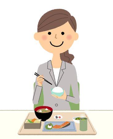Businesswoman eating Vector illustration.