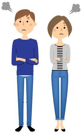 Young couple with angry facial expression. Vector illustration.