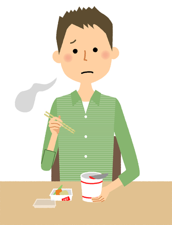 Young man eating cup noodles icon.