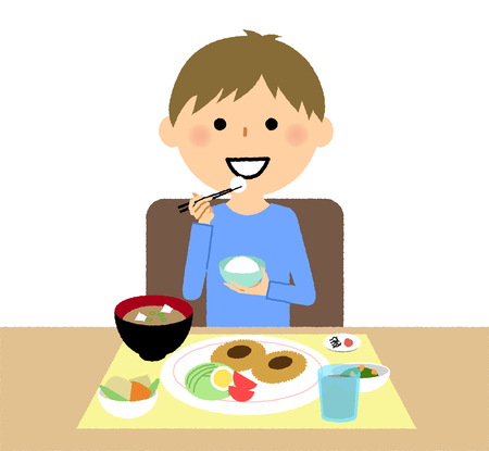 Boys to have a meal vector illustration. Vettoriali