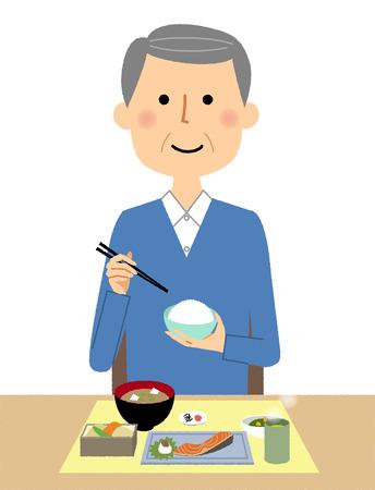 Elderly man, Meal Illustration
