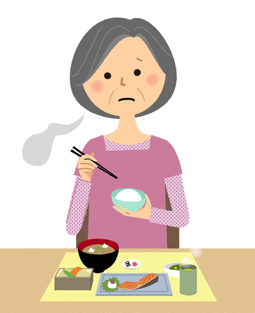 An elderly woman with Anorexia illustration