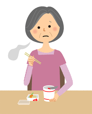 An elderly woman with Cup Noodle illustration Stock Illustratie