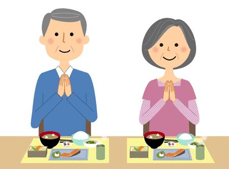 Bejaarde echtpaar, laten we eten! Stockfoto - 100998075