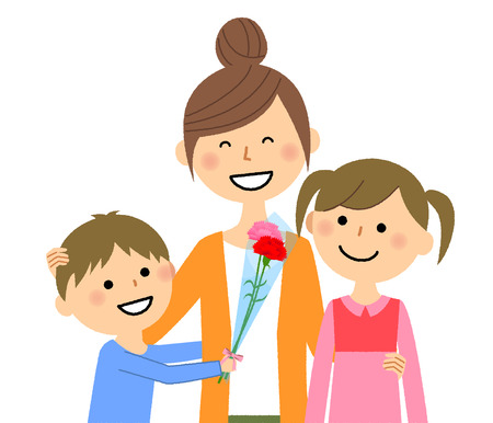 mom and her children vector