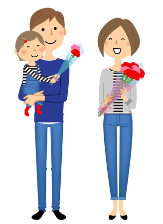 Mothers Day. father, mother and their child vector while the child and the mother holding flowers.