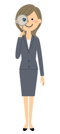 Businesswoman, Magnifying glass  イラスト・ベクター素材