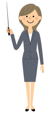 Businesswoman, Pointer stick 向量圖像