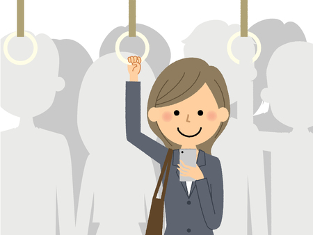 Businesswoman who commutes to train  イラスト・ベクター素材