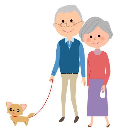 Bejaarde echtpaar, wandelen met een hond