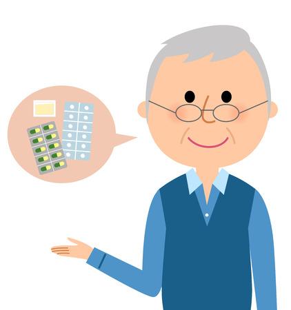Elderly man, Medicine Stock Illustratie