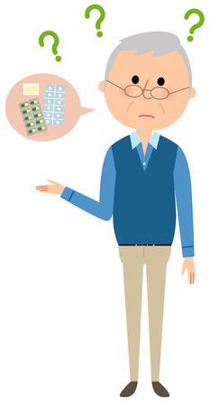 Elderly man, Medicine, Forget