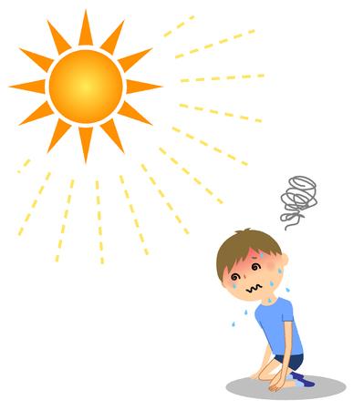 Un garçon avec un coup de chaleur Vecteurs