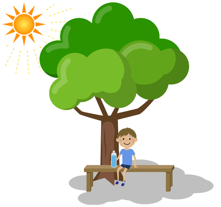 A boy taking a rest in the shade  イラスト・ベクター素材