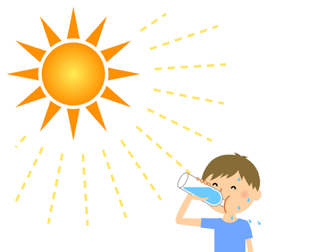 Niño, alimentación, hidratación Ilustración de vector