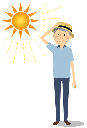 Elderly man going out wearing a hat 일러스트