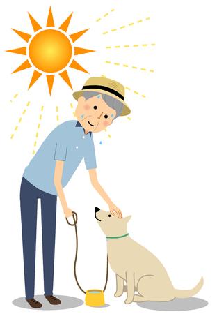 Elderly man wearing a hat walking a dog