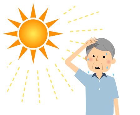 Een oudere man die waarschijnlijk een hitteberoerte krijgt Vector Illustratie