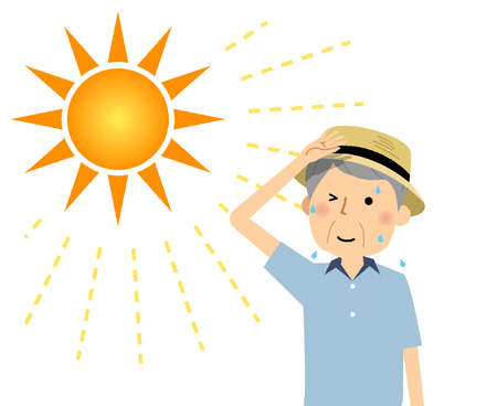 Elderly man going out wearing a hat Illustration