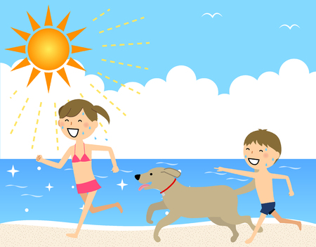 Children running on the beach Ilustrace