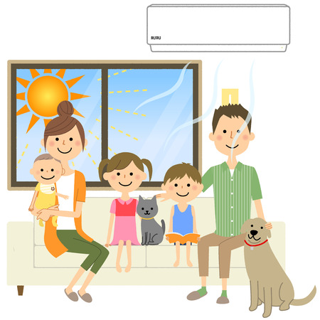 Cooling family in the room Иллюстрация
