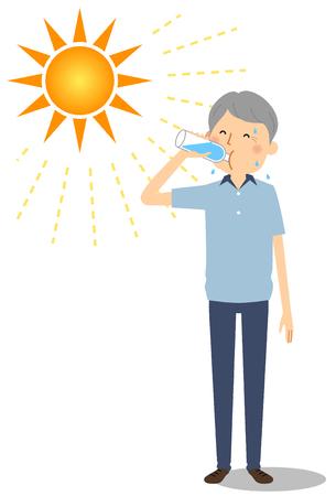 Elderly man feeding hydration