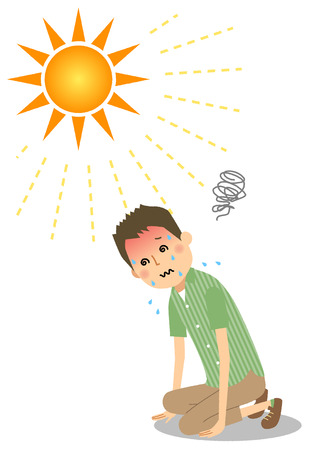 Young man who became heatstroke Illustration