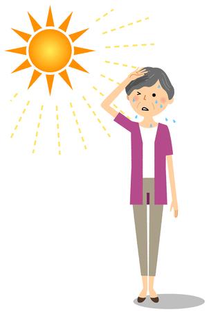 Femme âgée susceptible de devenir un coup de chaleur Vecteurs