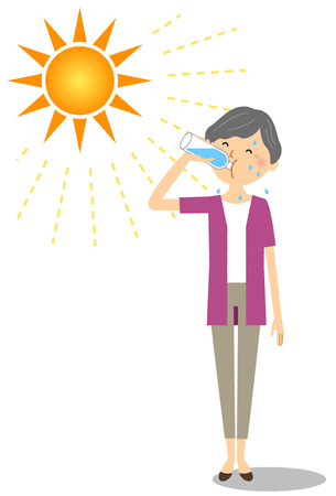 Elderly woman feeding hydration Illustration