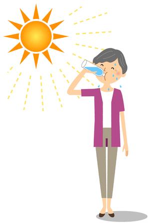 Elderly woman feeding hydration Illustration