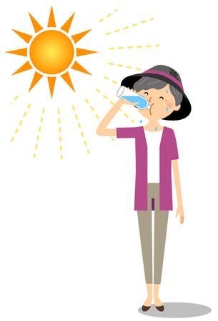 Elderly woman feeding hydration Vektorové ilustrace