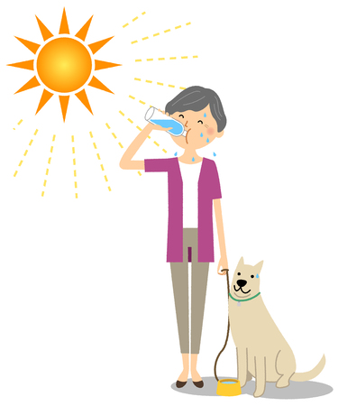 Elderly woman walking with dogs while hydrating Illusztráció