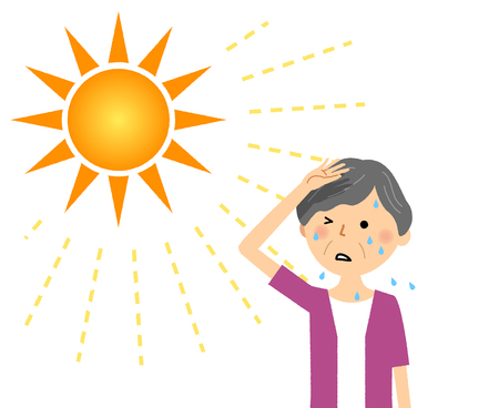 Elderly woman who are likely to become a heat stroke Vecteurs
