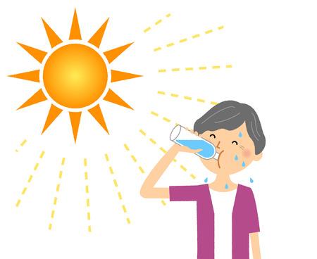 Elderly woman feeding hydration 写真素材 - 110733097