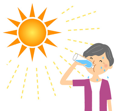 Elderly woman feeding hydration Ilustração