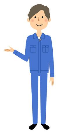 Working young man, Description Illustration