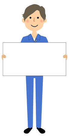 Working young man, White board