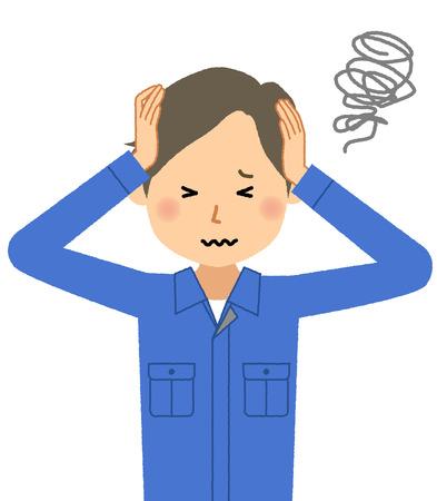 Working young man, To hold a head Ilustração Vetorial