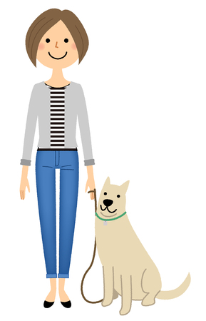 Young woman, mama, Walk with a dog