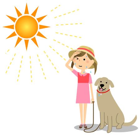 Une fille promenant un chien par une journée ensoleillée