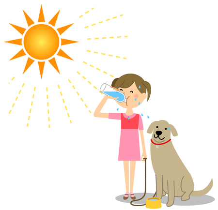 A girl walking a dog on a sunny day