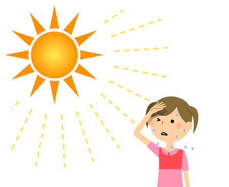 A girl who is likely to become a heat stroke Illustration