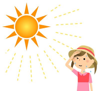 Ein Mädchen, das mit einem Hut bedeckt ist Vektorgrafik