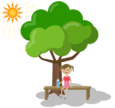 A girl taking a rest in the shade