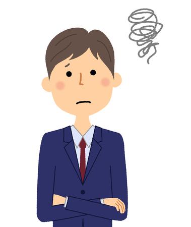 Hombre de negocios, estar preocupado Ilustración de vector