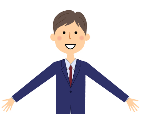 Businessman, Both arms are opened