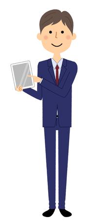 Businessman, Tablet Stock Illustratie