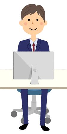 Businessman, PC Stock Illustratie