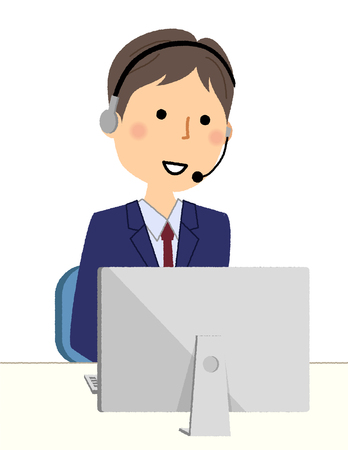 Businessman, Personal computer and hands free headset