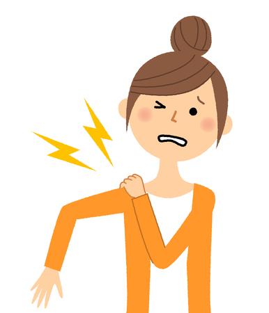 Jeune femme, maman, Douleur à l'épaule Vecteurs